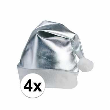 4x stuks zilveren glimmende kerstmutsen volwassenen kopen