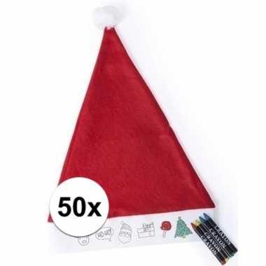 50 kerstmutsen voor kinderen inkleurbaar inclusief 4 waskrijtjes kope