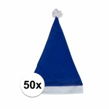 50x blauwe voordelige kerstmuts voor volwassenen kopen