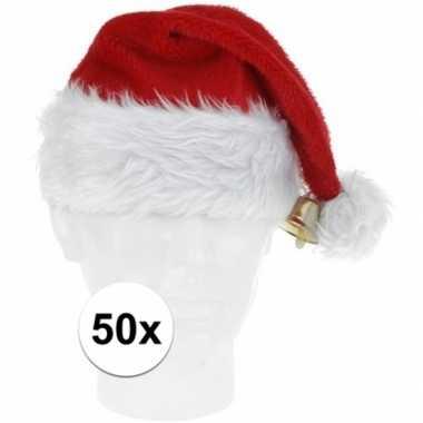 50x luxe pluche kerstmutsen met bel kopen