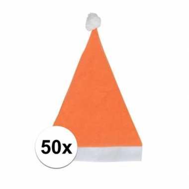 50x oranje voordelige kerstmuts voor volwassenen kopen