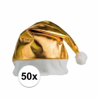 50x stuks gouden glimmende kerstmutsen kopen