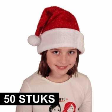 50x voordelige pluche kerstmuts met glitters voor kinderen kopen