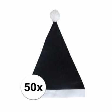 50x zwarte voordelige kerstmuts voor volwassenen kopen