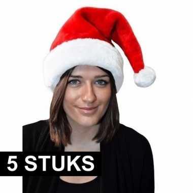 5x kerstmuts rood pluche voor volwassenen kopen