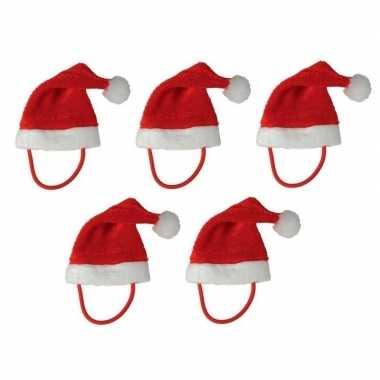 5x mini kerstmutsen met bandje voor knuffels/huisdieren kopen