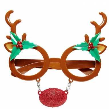 5x stuks rendier bril/feestbril kerst accessoires kopen