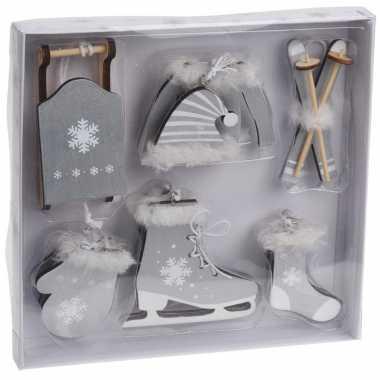 6x grijze houten kersthangers wintersport thema kerstboomversiering kopen