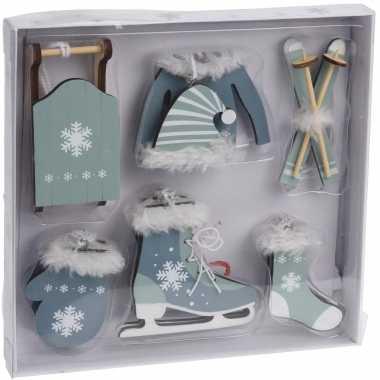 6x groen/blauwe houten kersthangers wintersport thema kerstboomversiering kopen