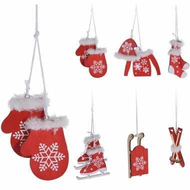 6x houten kersthangers/kerstornamenten winter thema rood/wit 6 cm kopen