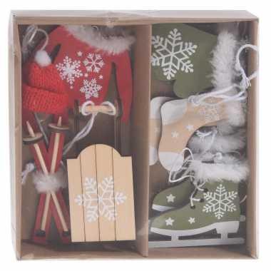 6x houten kersthangers/kerstornamenten winter thema rood/wit en groen/wit 6 cm kopen