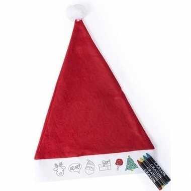 6x kerstmutsen voor kinderen inkleurbaar inclusief waskrijtjes kopen