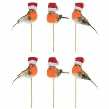 6x kerststukje onderdelen stekers met kerst vogeltjes 20 cm kopen