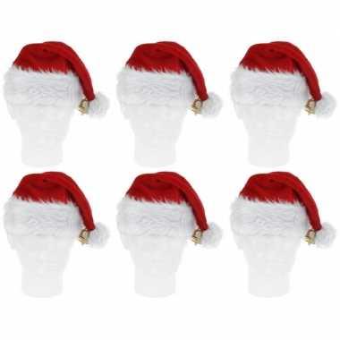 6x luxe pluche kerstmutsen met bel kopen