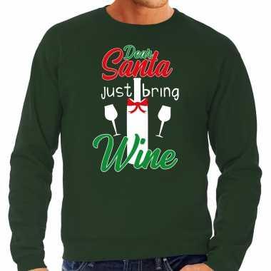 Dear santa just bring wine drank kerstsweater / outfit groen voor heren kopen