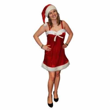 Fluwelen kerstjurkje inclusief kerstmuts kopen