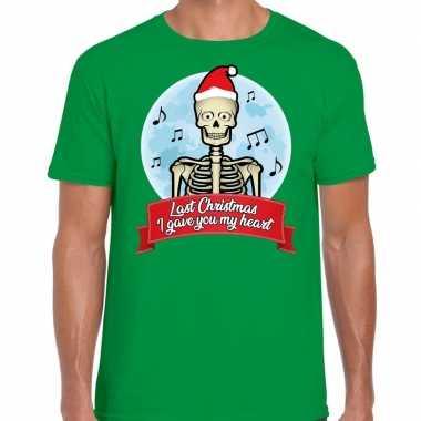 Fout kerst shirt last christmas i gave you my heart groen heren kopen