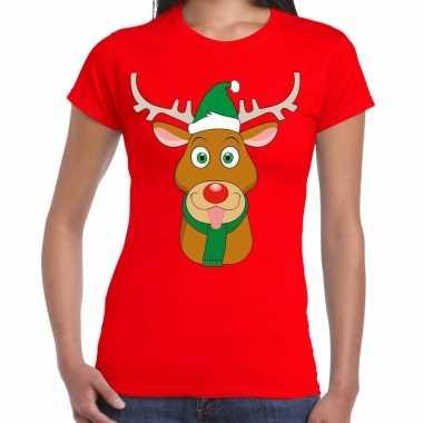 Foute kerst t shirt rendier rudolf groene kerstmuts rood dames kopen