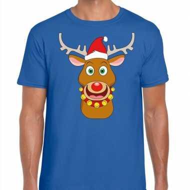 Foute kerst t shirt rendier rudolf rode kerstmuts blauw heren kopen