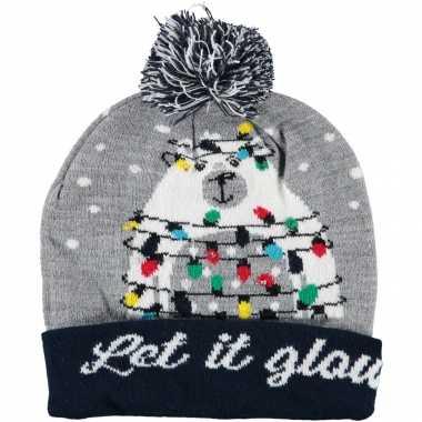 Foute kerstmutsen/mutsen/wintermutsen let it glow met verlichting kopen