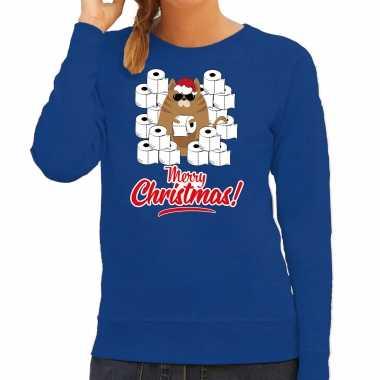 Foute kerstsweater / outfit met hamsterende kat merry christmas blauw voor dames kopen