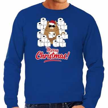 Foute kerstsweater / outfit met hamsterende kat merry christmas blauw voor heren kopen