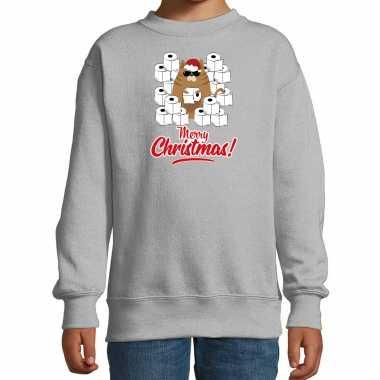 Foute kerstsweater / outfit met hamsterende kat merry christmas grijs voor kinderen kopen