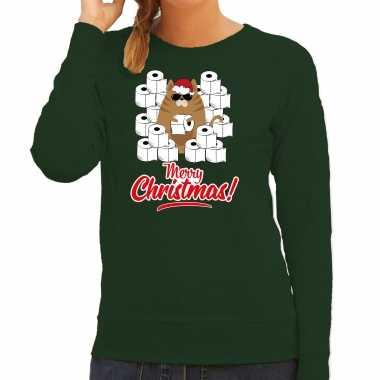 Foute kerstsweater / outfit met hamsterende kat merry christmas groen voor dames kopen