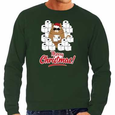 Foute kerstsweater / outfit met hamsterende kat merry christmas groen voor heren kopen