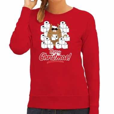 Foute kerstsweater / outfit met hamsterende kat merry christmas rood voor dames kopen