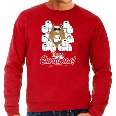 Foute kerstsweater / outfit met hamsterende kat merry christmas rood voor heren kopen