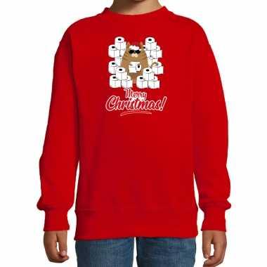 Foute kerstsweater / outfit met hamsterende kat merry christmas rood voor kinderen kopen