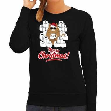 Foute kerstsweater / outfit met hamsterende kat merry christmas zwart voor dames kopen