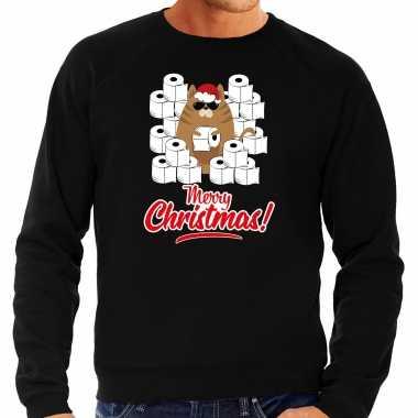 Foute kerstsweater / outfit met hamsterende kat merry christmas zwart voor heren kopen