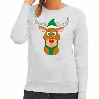 Foute kersttrui rendier rudolf met groene kerstmuts grijs dames kopen