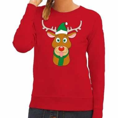 747fd08f153732 Foute kersttrui rendier rudolf met groene kerstmuts rood dames kopen ...
