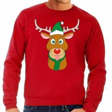 Foute kersttrui rendier rudolf met groene kerstmuts rood heren kopen