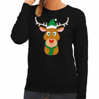Foute kersttrui rendier rudolf met groene kerstmuts zwart dames kopen