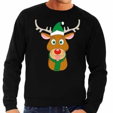 Foute kersttrui rendier rudolf met groene kerstmuts zwart heren kopen