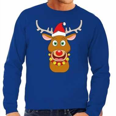 Foute kersttrui rendier rudolf met rode kerstmuts blauw heren kopen