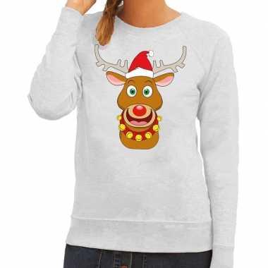 Foute kersttrui rendier rudolf met rode kerstmuts grijs dames kopen