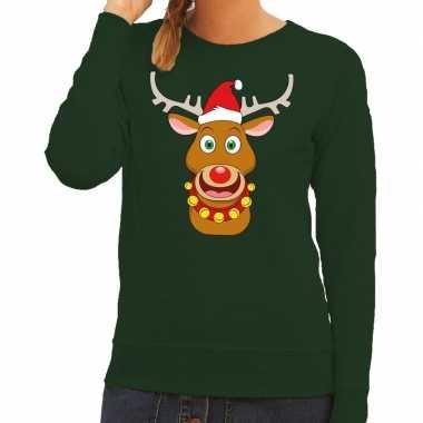 Foute kersttrui rendier rudolf met rode kerstmuts groen dames kopen