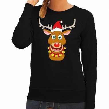 Foute kersttrui rendier rudolf met rode kerstmuts zwart dames kopen