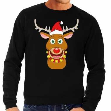 Foute kersttrui rendier rudolf met rode kerstmuts zwart heren kopen