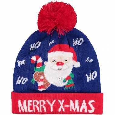Foute kinder kerstmutsen/wintermutsen merry x mas met verlichting kopen