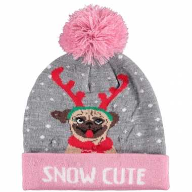 Foute kinder kerstmutsen/wintermutsen snow cutie met verlichting kopen