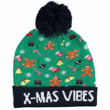 Foute kinder kerstmutsen/wintermutsen x mas vibes met verlichting kopen