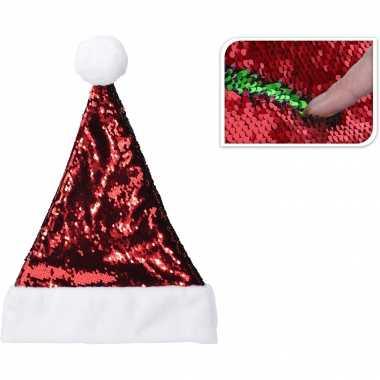 Glimmende verander/wrijfbare pailletten kerstmutsen rood/groen kopen