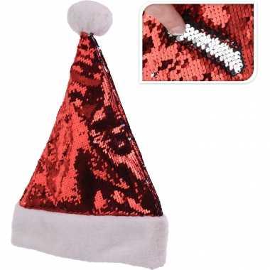 Glimmende verander/wrijfbare pailletten kerstmutsen rood/zilver kopen