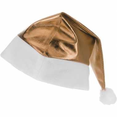 Gouden glimmende kerstman kerstmuts voor volwassenen kopen